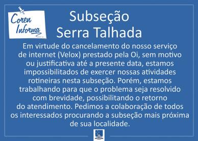 Coren informa - Serra Talhada